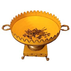 "Vintage Italian metal footed tole bowl. Pretty yellow and tole. 7""x9"""