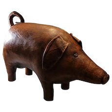 "Fantastic Vintage Dimitri Omersa leather ottoman pig. 32""x18""x13"""