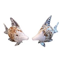 """Beautiful matching pair of handblown glass fish. Superb technique. Large at 10""""x8"""" each."""