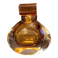 Vintage huge Murano hand blown perfume bottle. Fantastic amber and clear glass. 6 in by 6 in