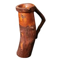 """Antique Lookout Mountain TN folk art mug. Made from tree material. Dated Merry Christmas 1914 8""""x3"""""""