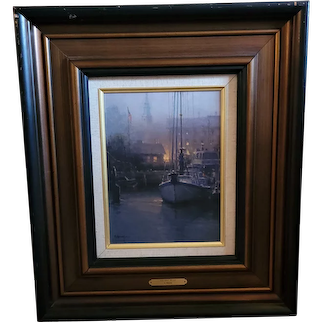 "G. Harvey Limited Edition Signed Canvas. 12""x9"" pic. ""Harbor Mist"" 24""x20 COA"