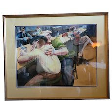 "Fantastic original watercolor by Sue Stoddard 1972. Great bar scene. 25""x30"""