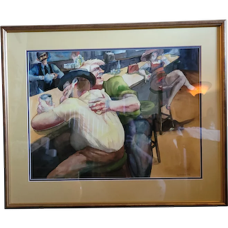 "Fantastic original watercolor by Sue Stoddard 1972. Great bar scene. 25""x30"""