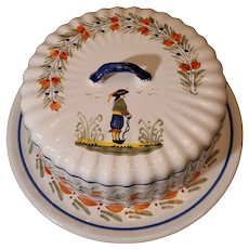 """Beautiful vintage Henriot Quimper Faience Breton covered cheese plate. 10""""x5"""" perfect."""