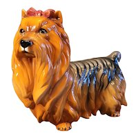"Mid Century Intrada majolica made in Italy Yorkie dog with bow. Beautiful statue piece. 12"" x 14"""
