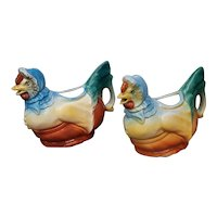 Rare Pair of Vintage Mother Hen Czech Creamers.