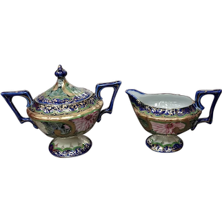 """Antique German cream and sugar. Fine porcelain with cobalt coloring and gilding. Provenance shows made prior to 1859. 6""""x7"""""""