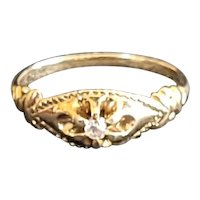 Vintage 14kt and diamond ring