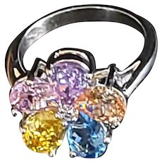 Sterling and precious stones flower ring