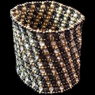 Hematite and crystal beaded stretch cuff bracelet