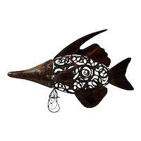 "Unique, large metal fish. Great sofa table piece. 19""x12"" Pierced, cage design."