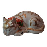 "Large, antique, heavy porcelain Kutani cat. Hard to find 12""x7"". Good condition."