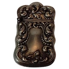 """Antique victorian match safe. Beautiful and dainty at 2""""x1.5"""". Marked Silveroin."""
