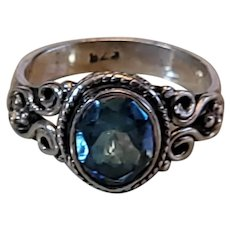 Vintage bright blue topaz and sterling ring. Beautiful. Size 8.25