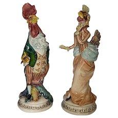 """Vintage porcelain pair of half fowl/half person. Excellent condition. 15""""x6"""" ea"""