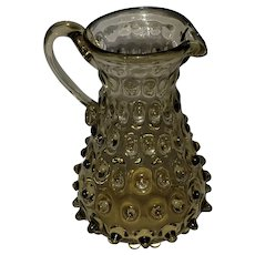 """Vintage Empoli Blown Glass Spike Hobnail Pitcher. Made in Italy. Amber 6""""x4"""""""