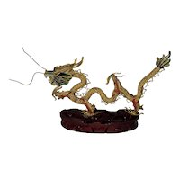 """Chinese Brass Filigree And Cloisonne Dragon. 7""""x5"""""""