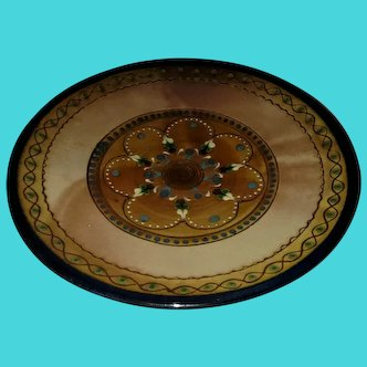 """Vintage Cailar Pottery Pedestal Bowl Made In France. Hand painted 11""""x3"""""""