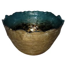 """Three Hands Glass Bowl. Made In Turkey. Beautiful bronze and turquoise. 8""""x4"""""""