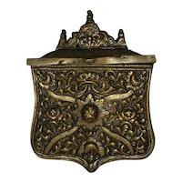 "Antique Brass Ottoman Empire Powder Pouch. Ornate and rare. Great cond 5""x4"""