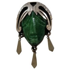 """Large Vintage Taxco Sterling and Green Stone brooch 3""""x2"""""""