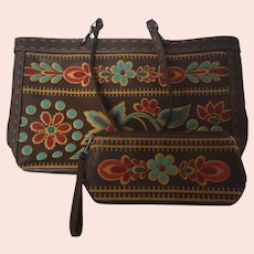 """Isabella Fiore Beaded Purse With Matching Wristlet. Great condition 15""""x10"""". Wristlet is 9""""x4"""""""