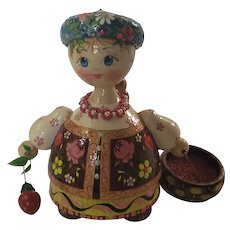 """Russian Matryoshka doll. Hand Made And Signed. 5""""x5"""" flower and basket of fruit"""