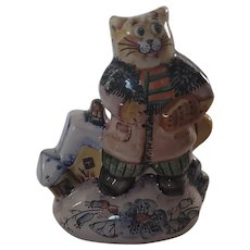 """Russian Clay Cat Figurine. Hand painted. Signed. 5.5""""x5"""""""