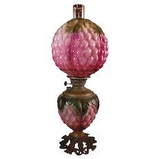 "Antique Pittsburgh GWTW Oil Lamp. Rare Berry/Artichoke Shades 25.5""x9"""
