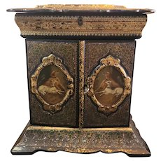 Antique Victorian Black Papier Mache Jewelry Box & Sewing Stunning 12x12x9. Made in the 1840s.
