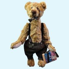 """Mill Creek Originals Rosalie Frischmann Jointed Bear. Excellent. Apple and Bookbag 16""""x9"""