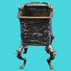 """Antique Hanau Silver Miniature With Pseudo Marks. Ornate Coal Hod. 1.75""""x1.75"""""""