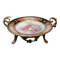 """Antique Sevres Plate In Ormolu Gilded Bronze Mount. Signed by Artist. 11""""x4"""""""