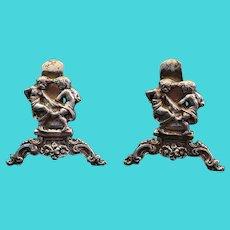 """Antique Hanau Sterling Miniature Card Holders. Intricate, Ornate. 1.75""""x1.75"""""""