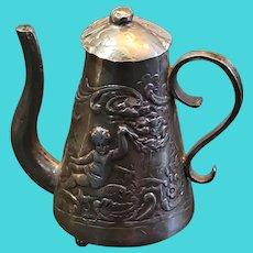 "Antique Silver Hanau Neresheimer Miniature Teapot. Beautiful Repousse 2""x2"""