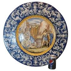 "Antique Italian Majolica Urbino Istoriato Wall Plate. 1860s HUGE at 23.75""x1.5"""