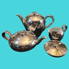 Antique Heinrich Porzellan WMF Tea Set. Art Deco. Silver plate over porcelain.
