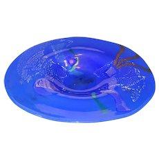 "Donald Carlson Art Glass Bowl. 9.5"" abstract design. Beautiful Blue.OOAK 3"" tall"