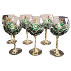 """Hand Painted Wine Glasses Holiday. Made by Uno Alla Volta. 6 OOAK 8.5"""""""