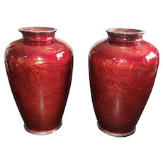 """Vintage Pigeon Blood Red Foil Vase Pair. Matching Bamboo and Bird. Tall at 7.5"""""""