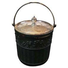 "Antique Early Wedgwood Black Basalt Biscuit Barrel. Silverplate Lid 6.5""x5"""