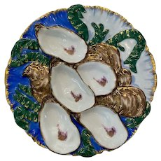 19th Century Haviland & Co. Limoges Turkey Style Blue Oyster Plate
