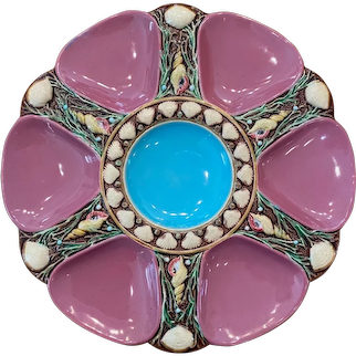 19th Century Minton Majolica Rose 6-Well Oyster Plate