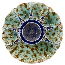 19th Century Minton Majolica Mottled 6-Well Oyster Plate with Cracker Well