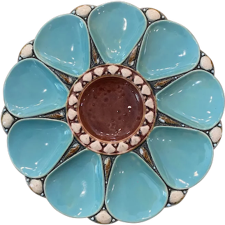 19th Century Minton Majolica Blue Brown 9-Well Oyster Plate