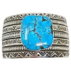 Alex Sanchez turquoise stamped cuff bracelet