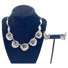222 Vintage Danecraft sterling flower motif necklace and earrings jewelry set