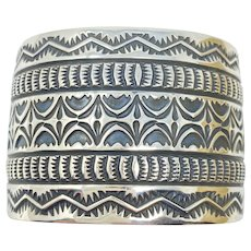 Sunshine Reeves Navajo Silver stamp Cuff Bracelet