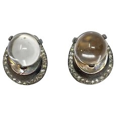 """330 """"Pools of Light"""" Jelly Belly orb Trifari Alfred Phillippe sterling clip-on earrings"""